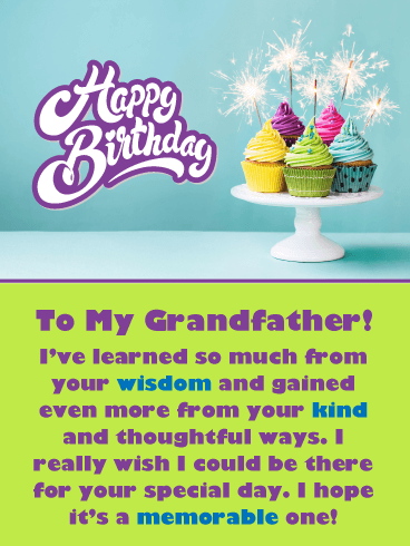 Sparkling Cupcakes – Happy Birthday Card for Grandfather