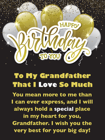 Golden Balloons – Happy Birthday Card for Grandfather