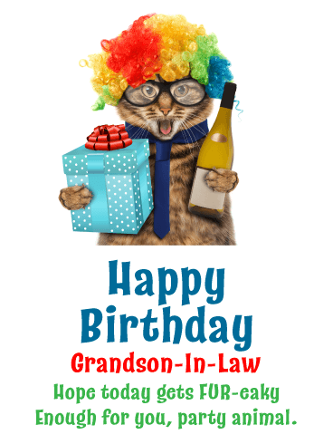 Party Fur-eak - Funny Birthday Card for Grandson-In-Law