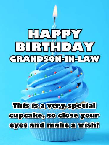 Blue Cupcake - Happy Birthday Card for Grandson-In-Law