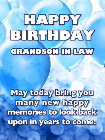 Blue Balloons - Happy Birthday Card for Grandson-In-Law