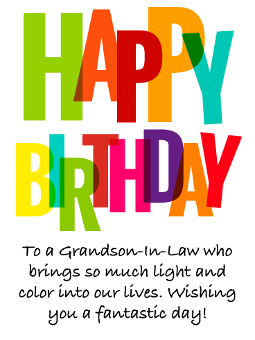 Colorful Confetti - Happy Birthday Card for Grandson-In-Law