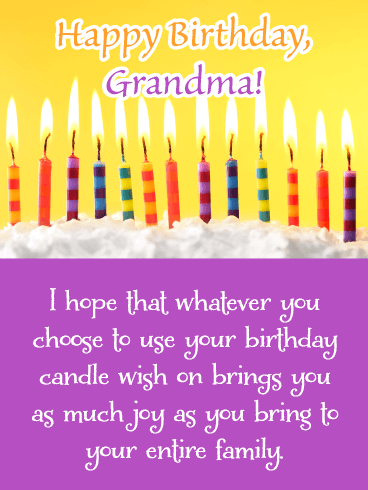 Birthday Candle Wishes- Happy Birthday Card for Grandma