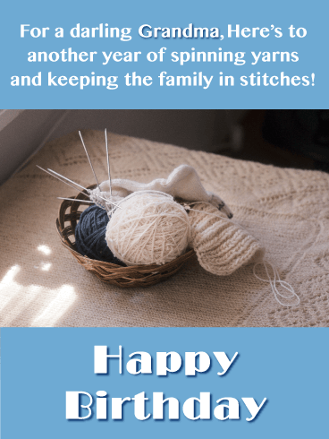 Knitting Jokes- Happy Birthday Card for Grandma