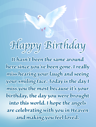 Beautiful Dove – Happy Birthday Card for Everyone in Heaven