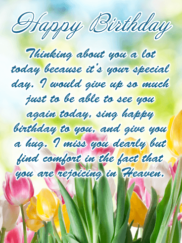 Missing You – Happy Birthday Card for Everyone in Heaven