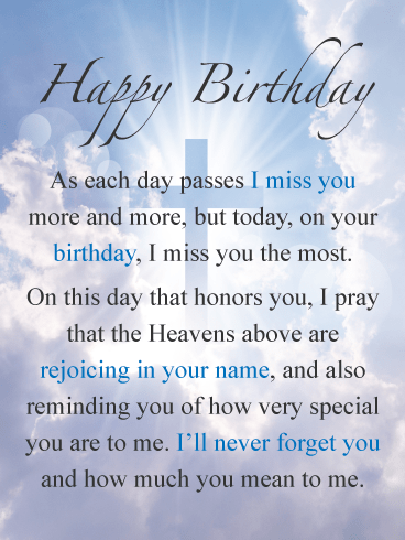 The Day I Miss You the Most – Happy Birthday Card for Everyone in Heaven
