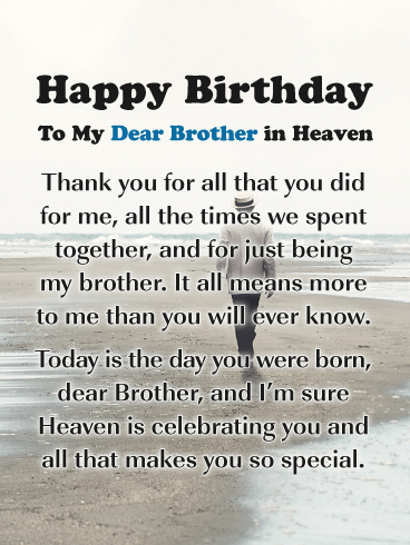 Thank You for Everything - Happy Birthday Card for Brother in Heaven