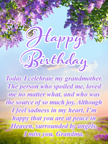 Today I Celebrate You - Happy Birthday Card for Grandmother in Heaven