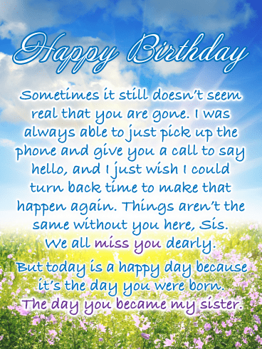 I Miss You Dearly – Happy Birthday Card for Sister in Heaven