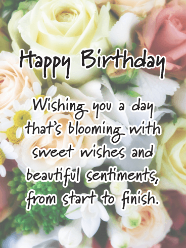 Blooming with Sweet Wishes - Happy Birthday Card for Her