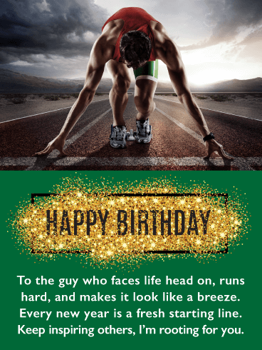 Starting Line - Happy Birthday Card for Him