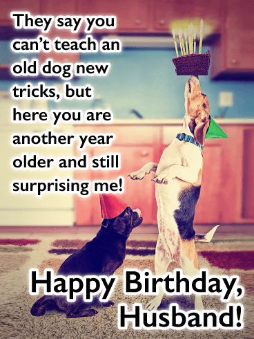New Tricks - Funny Happy Birthday Card for Husband