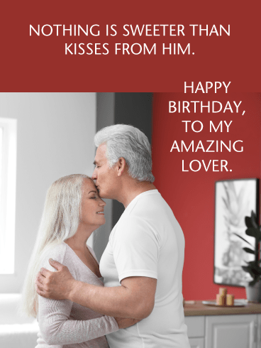 His Kisses- Romantic Happy Birthday Card for Husband