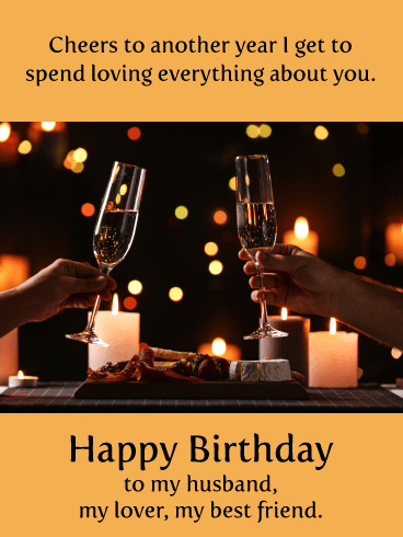 Cheers to Loving You- Romantic Birthday Card for Husband