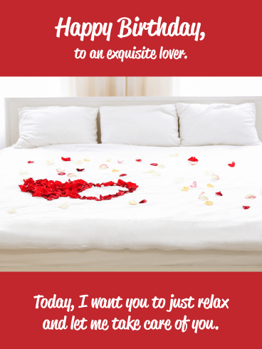 Rose Petals on Bed- Very Romantic Birthday Card for Husband