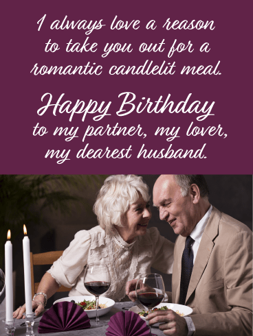 Romantic Candlelit Meal- Happy Birthday Card for Him