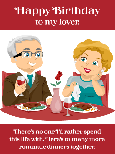 Romantic Cartoon Dinner- Happy Birthday Card for Husband