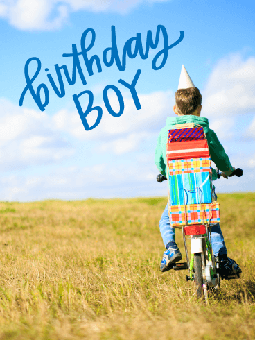 Bicycle with Presents - Happy Birthday Card for Boys