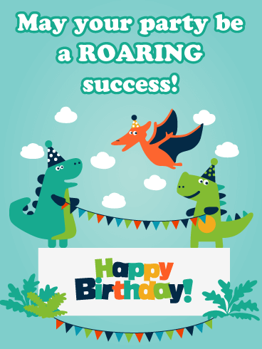 Dinosaur Party Banners - Happy Birthday Card for Boys