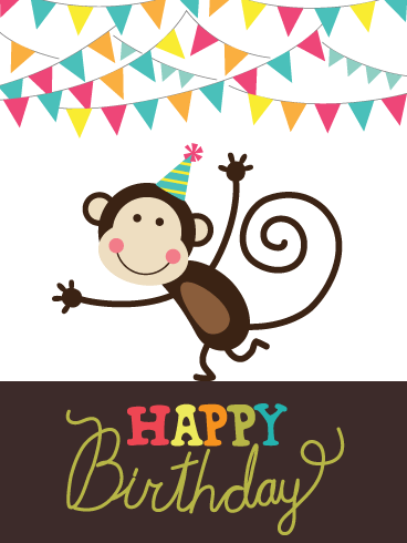 Monkeying Around - Happy Birthday Card for Boys