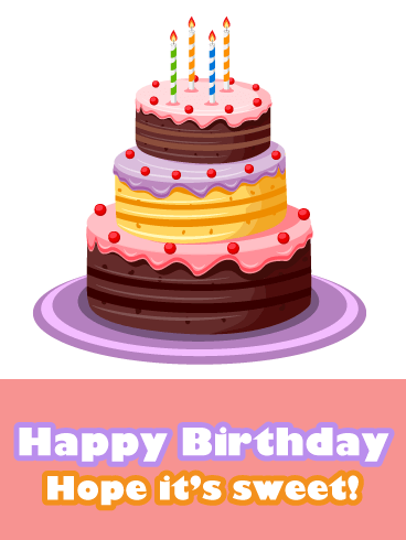 Sweet Birthday Cake - Happy Birthday Card for Girls