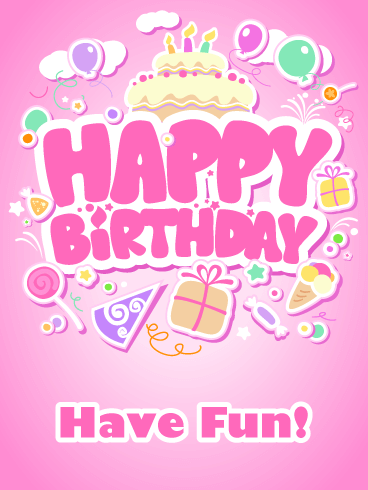 Pink Bubble Party - Happy Birthday Card for Girls