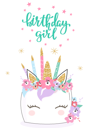 Candle Crown Unicorn - Happy Birthday Card for Girls