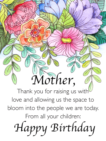 Space to Bloom- Happy Birthday Card for Mother from Us