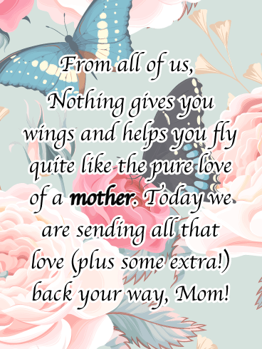 Fly Like a Butterfly- Happy Birthday Card for Mother from Us