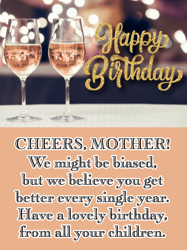 Sparkling Pink Wine- Happy Birthday Card for Mother from Us