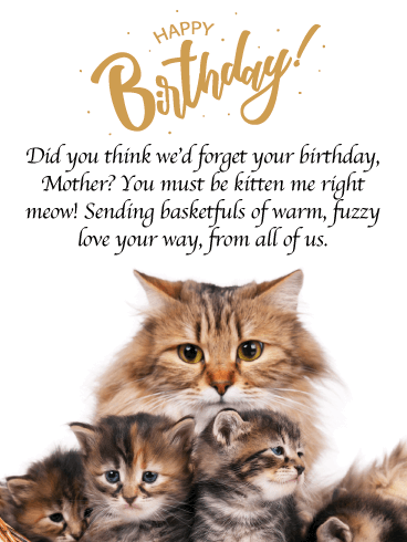 Basket of Kittens- Funny Birthday Card for Mother from Us