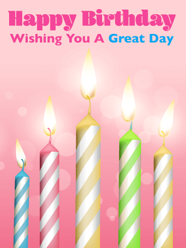 Brightly Lit Candles - Happy Birthday Card