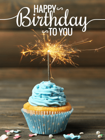 Special Sparkling Cupcake - Happy Birthday Card