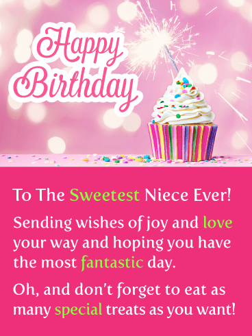 Sparkling Cupcake - Happy Birthday Card for Niece