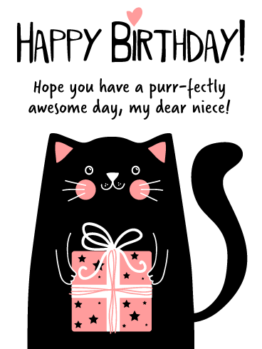 Purr-fectly Awesome Day! - Happy Birthday Card for Niece