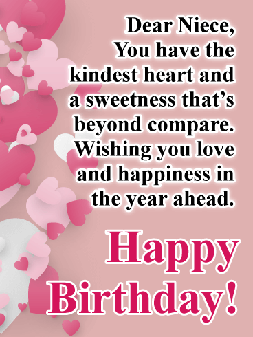 Heartfelt Greeting - Happy Birthday Card for Niece