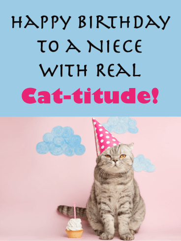 Real Cat-titude! - Happy Birthday Card for Niece