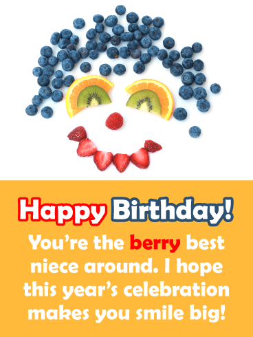 The Berry Best Niece Around - Happy Birthday Card for Niece