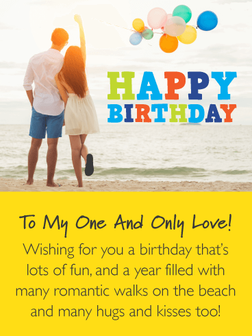 Walks on the Beach – Romantic Happy Birthday Card for Him