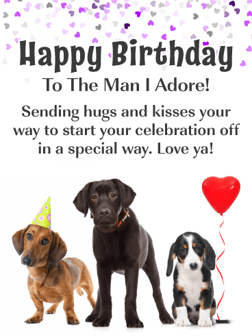 Celebration Puppies – Romantic Happy Birthday Card for Him