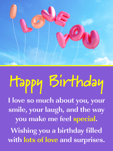 I Love You Balloons – Romantic Happy Birthday Card for Him