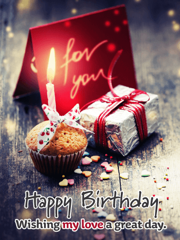 Fantastic Cupcake & Present – Romantic Happy Birthday Card for Him