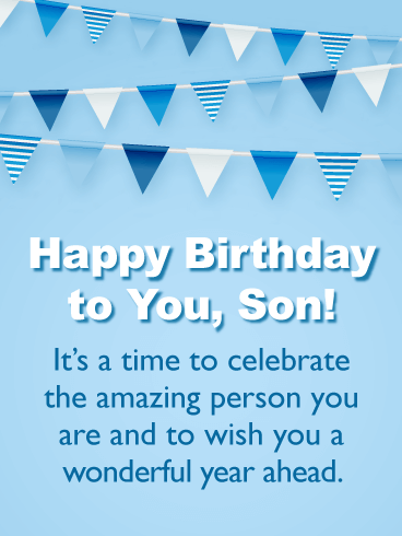 Wish You a Wonderful Year Ahead - Happy Birthday Cards for Son from Father