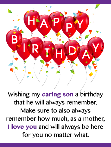 Party Balloons – Happy Birthday Card for Son from Mother