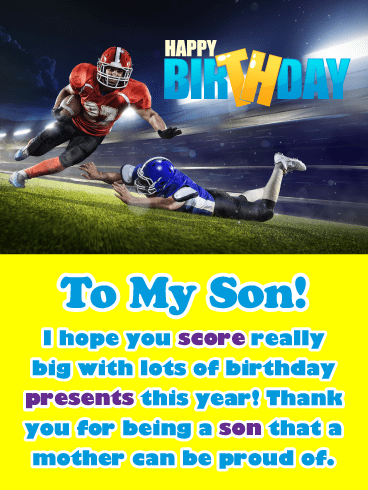 Score Lots of Presents – Happy Birthday Card for Son from Mother