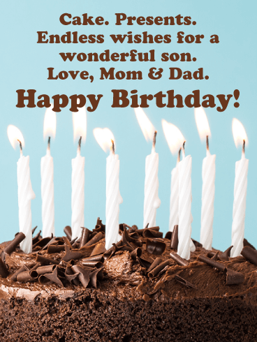 Cake, Presents & Endless Wishes - Happy Birthday Card for Son from Parents