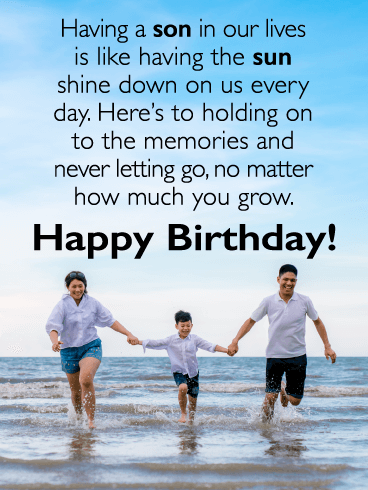 The Sun Shine Down on Us - Happy Birthday Card for Son from Parents