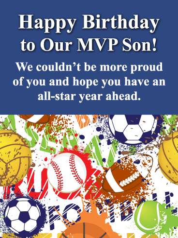 To Our MVP Son - Happy Birthday Card for Son from Parents