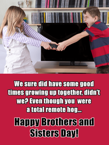 Arguing Siblings - Happy Brothers and Sisters Day Card